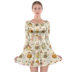 Sinister Helloween Cat Pumkin Bat Ghost Polka Dots Vampire Bone Skull Long Sleeve Skater Dress