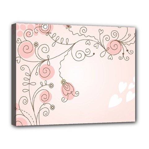Simple Flower Polka Dots Pink Canvas 14  X 11