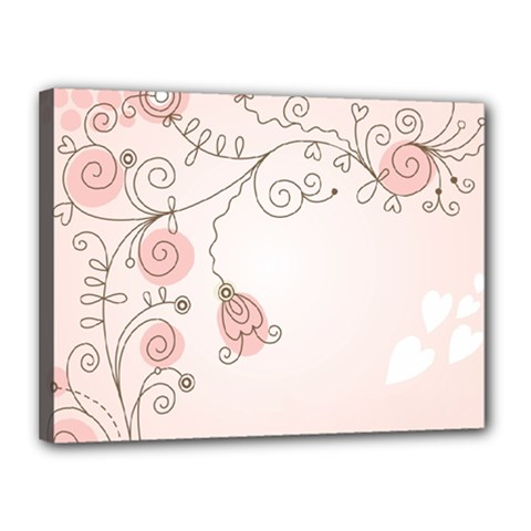 Simple Flower Polka Dots Pink Canvas 16  X 12