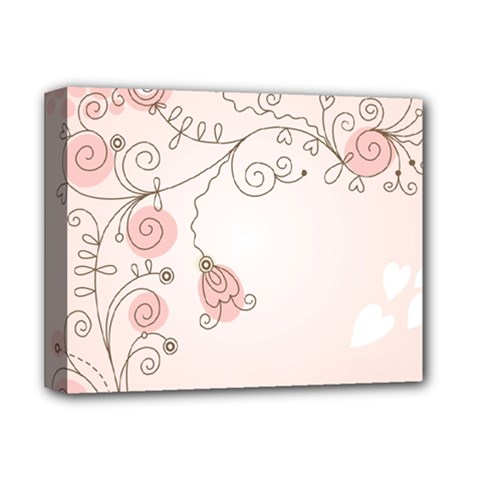 Simple Flower Polka Dots Pink Deluxe Canvas 14  X 11