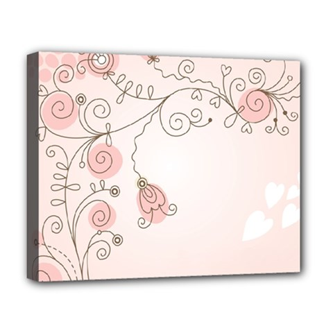 Simple Flower Polka Dots Pink Deluxe Canvas 20  X 16