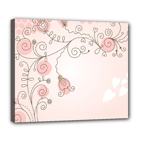 Simple Flower Polka Dots Pink Deluxe Canvas 24  X 20