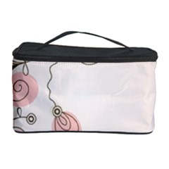 Simple Flower Polka Dots Pink Cosmetic Storage Case