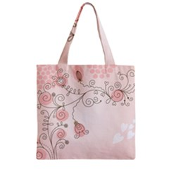 Simple Flower Polka Dots Pink Zipper Grocery Tote Bag