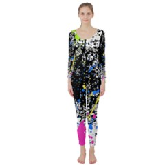 Spot Paint Pink Black Green Yellow Blue Sexy Long Sleeve Catsuit