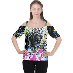 Spot Paint Pink Black Green Yellow Blue Sexy Cutout Shoulder Tee