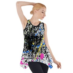 Spot Paint Pink Black Green Yellow Blue Sexy Side Drop Tank Tunic