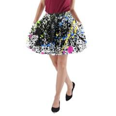 Spot Paint Pink Black Green Yellow Blue Sexy A Line Pocket Skirt