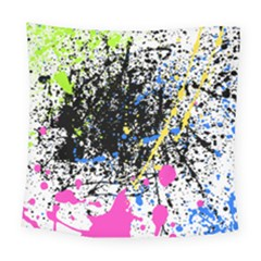 Spot Paint Pink Black Green Yellow Blue Sexy Square Tapestry (large)