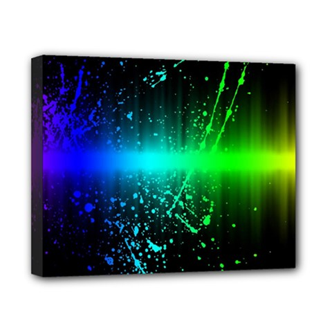 Space Galaxy Green Blue Black Spot Light Neon Rainbow Canvas 10  X 8