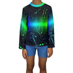Space Galaxy Green Blue Black Spot Light Neon Rainbow Kids  Long Sleeve Swimwear