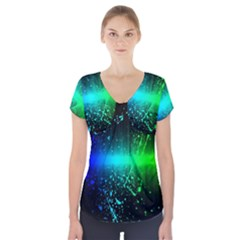 Space Galaxy Green Blue Black Spot Light Neon Rainbow Short Sleeve Front Detail Top