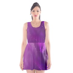 Space Star Planet Galaxy Purple Scoop Neck Skater Dress
