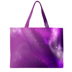 Space Star Planet Galaxy Purple Zipper Large Tote Bag