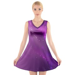Space Star Planet Galaxy Purple V Neck Sleeveless Skater Dress