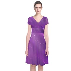 Space Star Planet Galaxy Purple Short Sleeve Front Wrap Dress