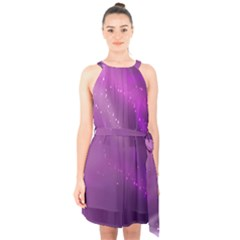 Space Star Planet Galaxy Purple Halter Collar Waist Tie Chiffon Dress