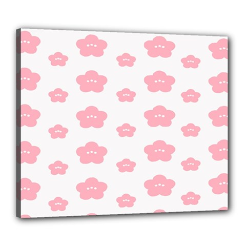 Star Pink Flower Polka Dots Canvas 24  X 20