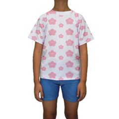 Star Pink Flower Polka Dots Kids  Short Sleeve Swimwear