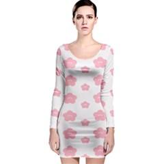 Star Pink Flower Polka Dots Long Sleeve Bodycon Dress