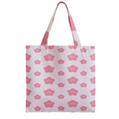 Star Pink Flower Polka Dots Zipper Grocery Tote Bag