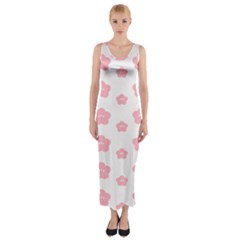Star Pink Flower Polka Dots Fitted Maxi Dress