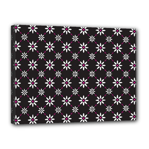 Sunflower Star Floral Purple Pink Canvas 16  X 12