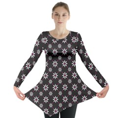 Sunflower Star Floral Purple Pink Long Sleeve Tunic