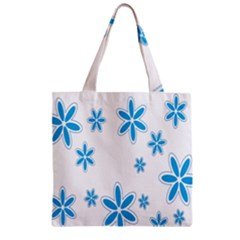 Star Flower Blue Zipper Grocery Tote Bag