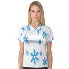 Star Flower Blue V Neck Sport Mesh Tee