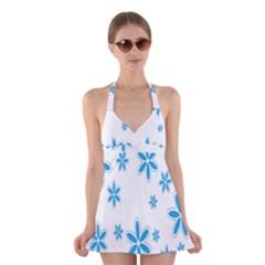 Star Flower Blue Halter Swimsuit Dress