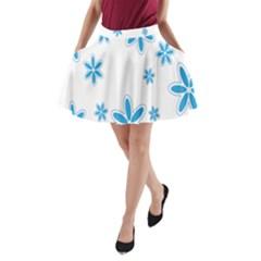 Star Flower Blue A Line Pocket Skirt