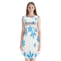 Star Flower Blue Sleeveless Chiffon Dress