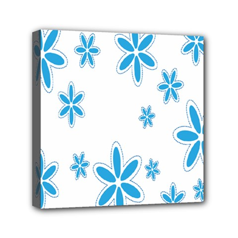 Star Flower Blue Mini Canvas 6  X 6