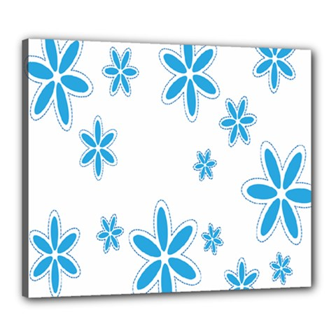 Star Flower Blue Canvas 24  X 20