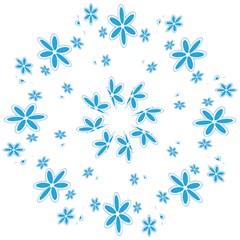 Star Flower Blue Folding Umbrellas