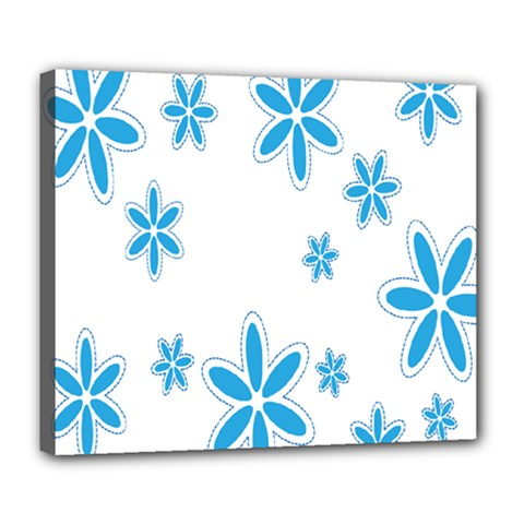 Star Flower Blue Deluxe Canvas 24  X 20