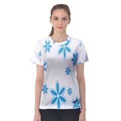 Star Flower Blue Women s Sport Mesh Tee