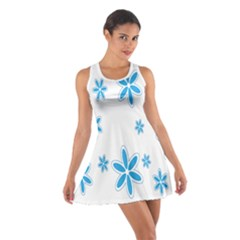 Star Flower Blue Cotton Racerback Dress
