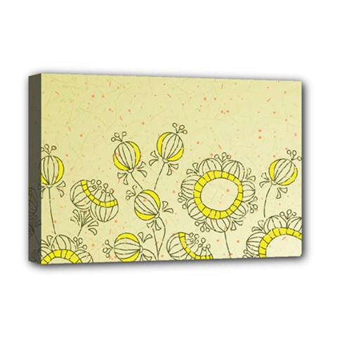 Sunflower Fly Flower Floral Deluxe Canvas 18  X 12