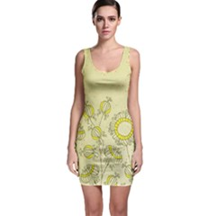 Sunflower Fly Flower Floral Bodycon Dress