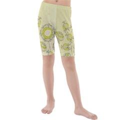 Sunflower Fly Flower Floral Kids  Mid Length Swim Shorts