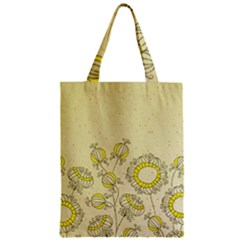 Sunflower Fly Flower Floral Zipper Classic Tote Bag