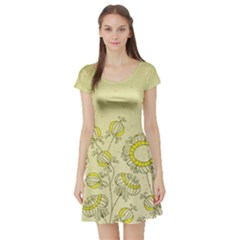 Sunflower Fly Flower Floral Short Sleeve Skater Dress