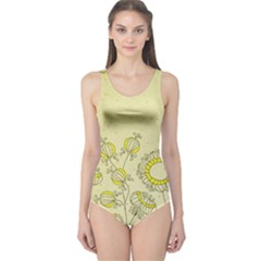 Sunflower Fly Flower Floral One Piece Swimsuit