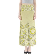 Sunflower Fly Flower Floral Full Length Maxi Skirt