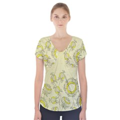 Sunflower Fly Flower Floral Short Sleeve Front Detail Top