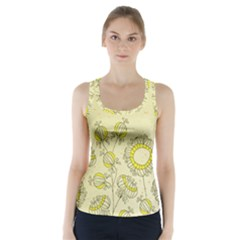 Sunflower Fly Flower Floral Racer Back Sports Top
