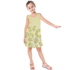 Sunflower Fly Flower Floral Kids  Sleeveless Dress