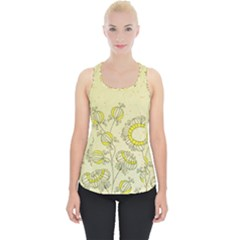 Sunflower Fly Flower Floral Piece Up Tank Top